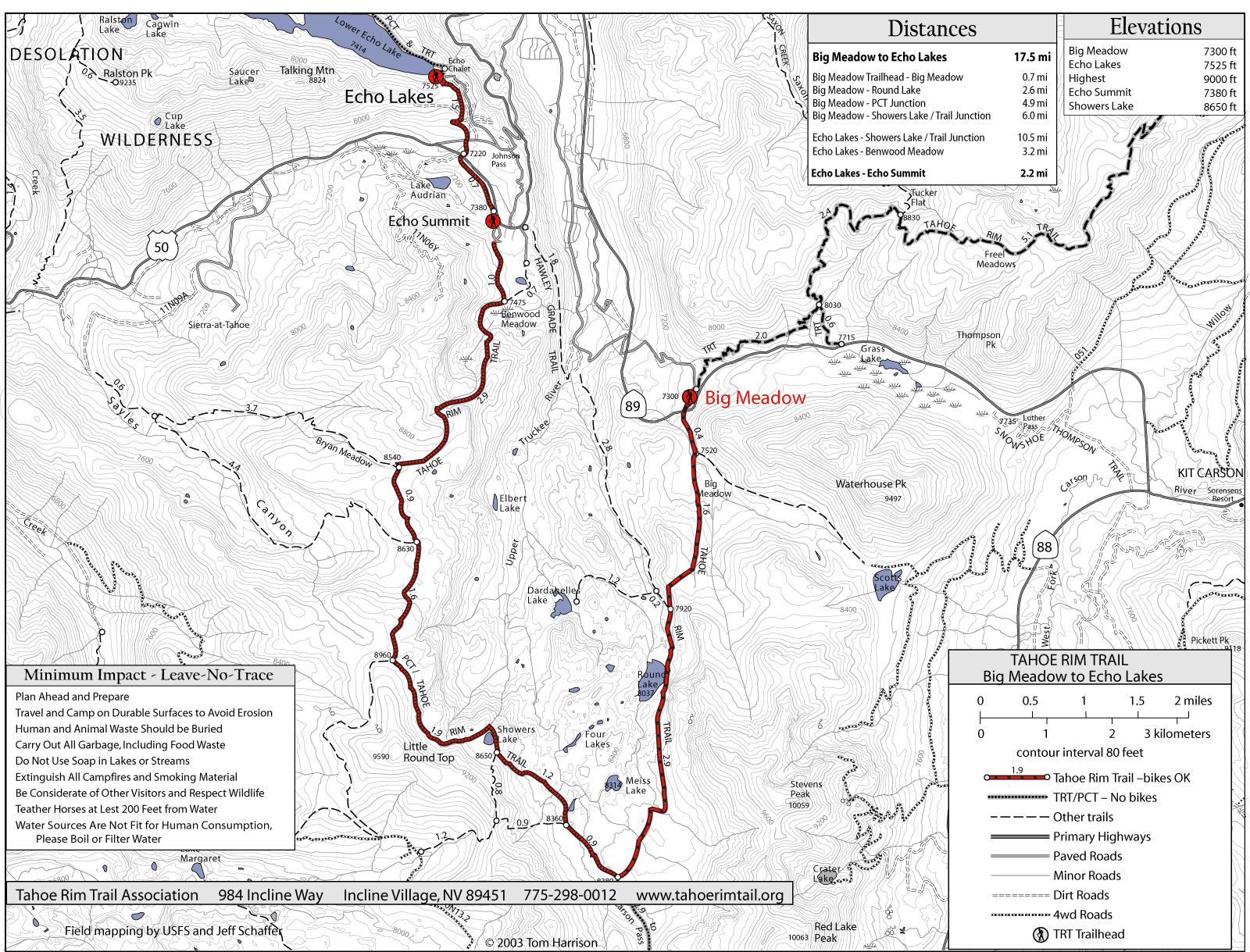 Tahoe Rim Trail Big Meadow To Echo Lake Map