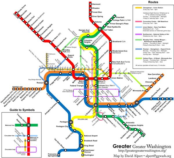 Washington DC Public Transportation Map Washington DC