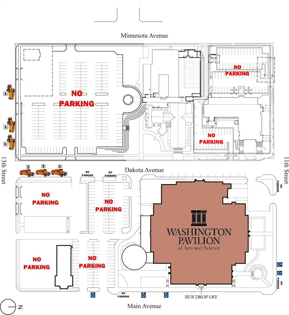medium resolution of washington pavillion of arts and sciences bus parking map 301 s crowd control diagram bus parking diagram