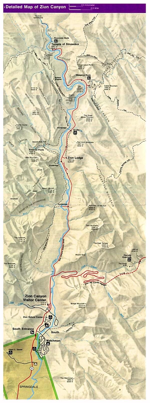 Zion Canyon Map Zion National Park UT USA mappery