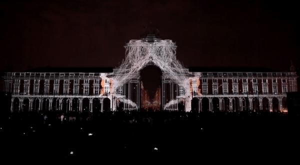 Августовский 3D mapping на Дворцовой площади Лиссабона