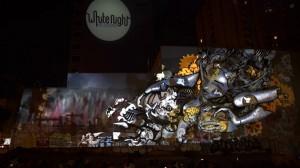 Великолепный симбиоз уличного граффити и видео мэппинга