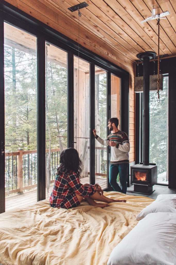 relaxing at our cozy cabin in the woods of quebec