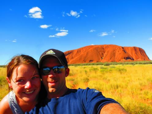 After hiking Australia's Uluru.