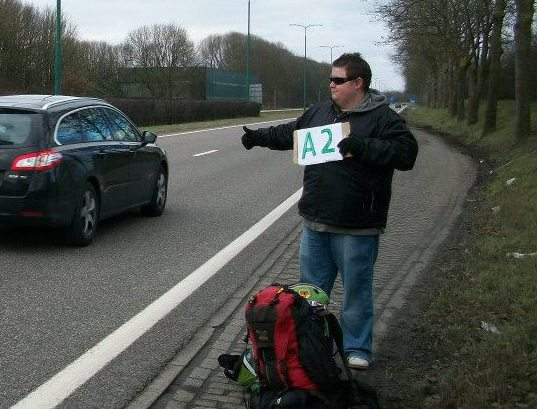 Freedom. Hitch-hiking in the Netherlands.