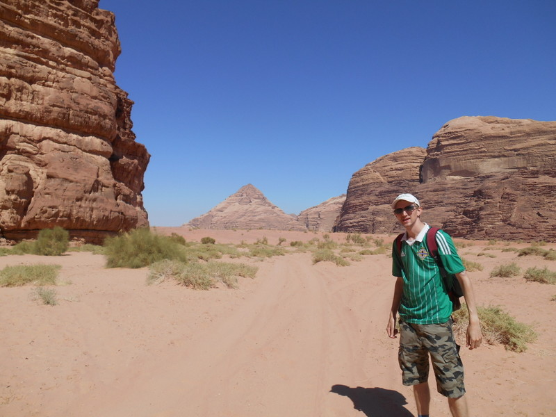 Hiking in Wadi Rum, Jordan.