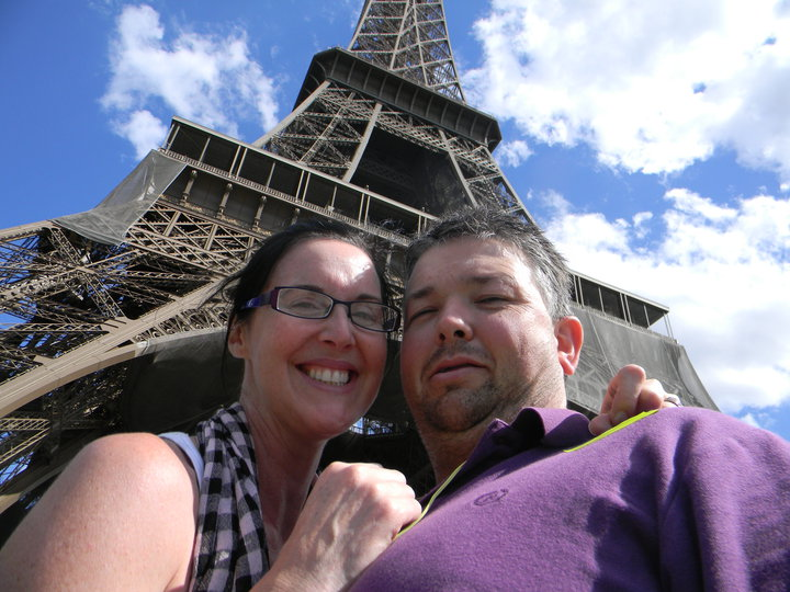 Sharon and Ray Young.  Eiffel Tower, France.