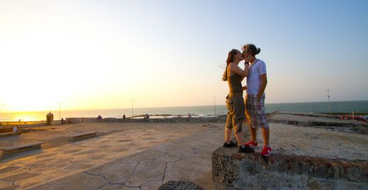 Cartagena, Colombia is a romantic city, and seeing couple stealing a little smooch is common.