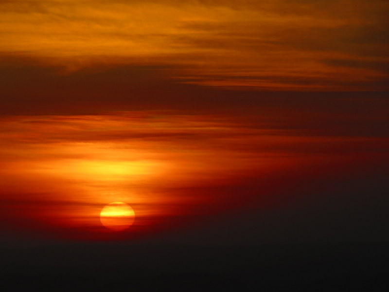 The sunset over the Huacachina desert.