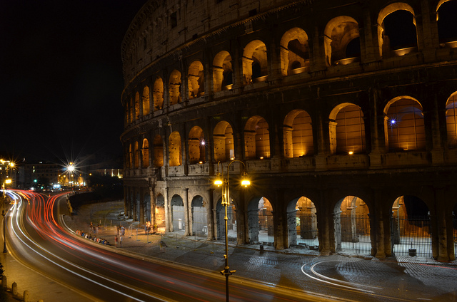 Collosseum at night.