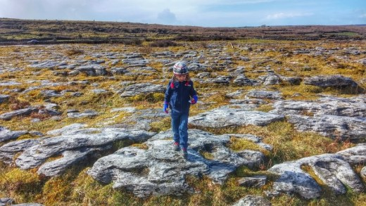 Photo courtesy of the Fairytale Traveler. Gauge making his way over a sea of limestone rocks in The Burren, Ireland.