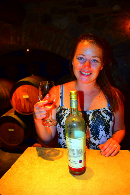 Wine tasting at Castello di Amorosa of the award winning wines which are sold exclusively at the castle.