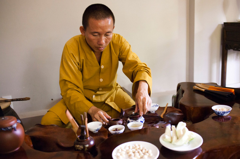 Tea with a monk in Hatien, Vietnam.
