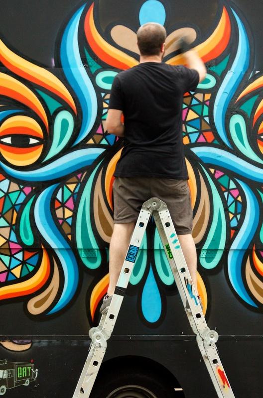 Beastman painting the Eat Art Truck
