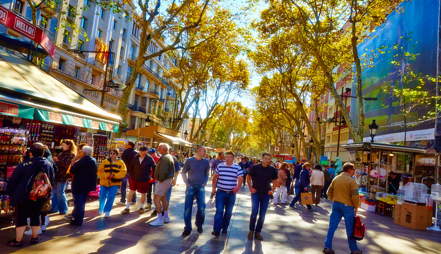 The pedestrian friendly boulevard of the Ramblas is the most famous street in central Barcelona, and this is the perfect location for sight-seeing, shopping, or taking a break for some coffee or tapas at a local cafe.