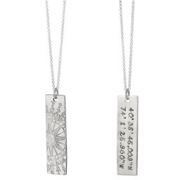 Remember your favorite place with this custom stamped pendant, featuring coordinates close to your heart.