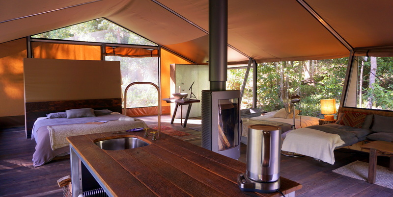 Nightfall Wilderness Camp is a glamping site in a relatively untouched pocket of paradise, perched delicately beside the crystal-clear tumbling headwaters of Christmas Creek and Queensland's ancient Lamington National Park rainforests.
