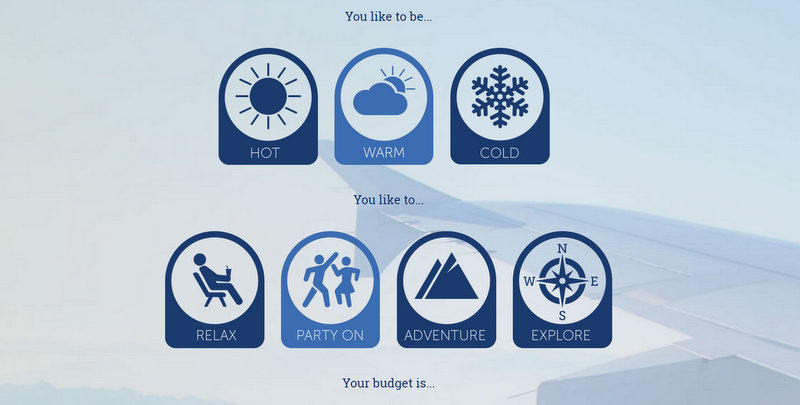 To help with holiday decision making process, myperfectholiday.co.uk has created 'My Perfect Holiday Generator'.
