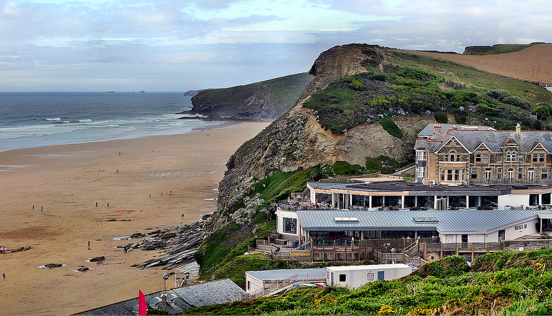 Watergate Bay is a perfect golden sand beach which stretches for over 2 miles at the foot of stunning steep cliffs.