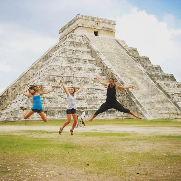 Obligatory jumping photo at Chichen Itza, Mexico - just like the ancient Mayans used to take.