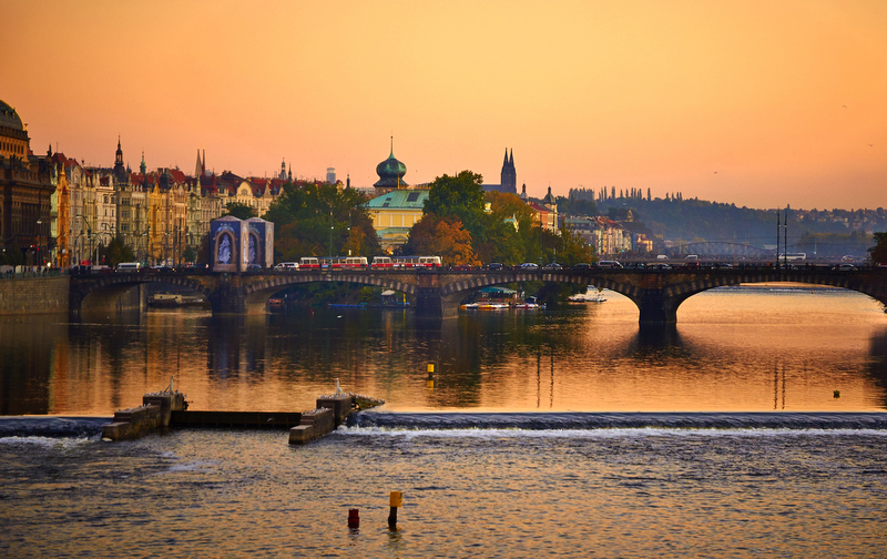 Lined with statues, the gothic Charles Bridge is Prague's most recognisable landmarks and it looks it's most beautiful at sunset.