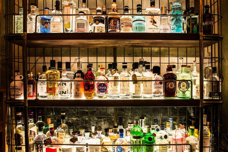 Gin Wall at Holborn Dining Room