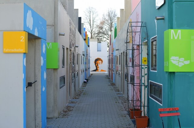 Students are allowed to paint the outside of their little homes