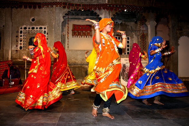 "Udaipur, Dharohar (""heritage""), Rajasthani folk dancing in Bagore Ki Haveli"