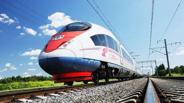High-speed EMU train EVS «Sapsan» on Moscow — Saint-Petersburg railway line