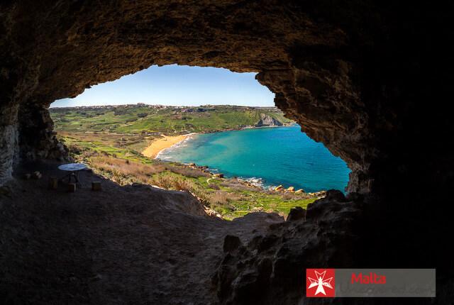 Ramla-cave best beaches in Malta
