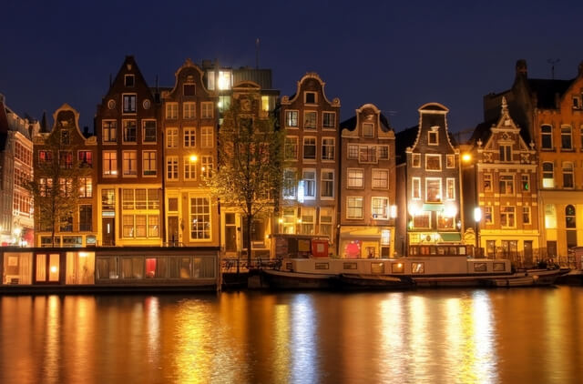 Amsterdam houses at night RF