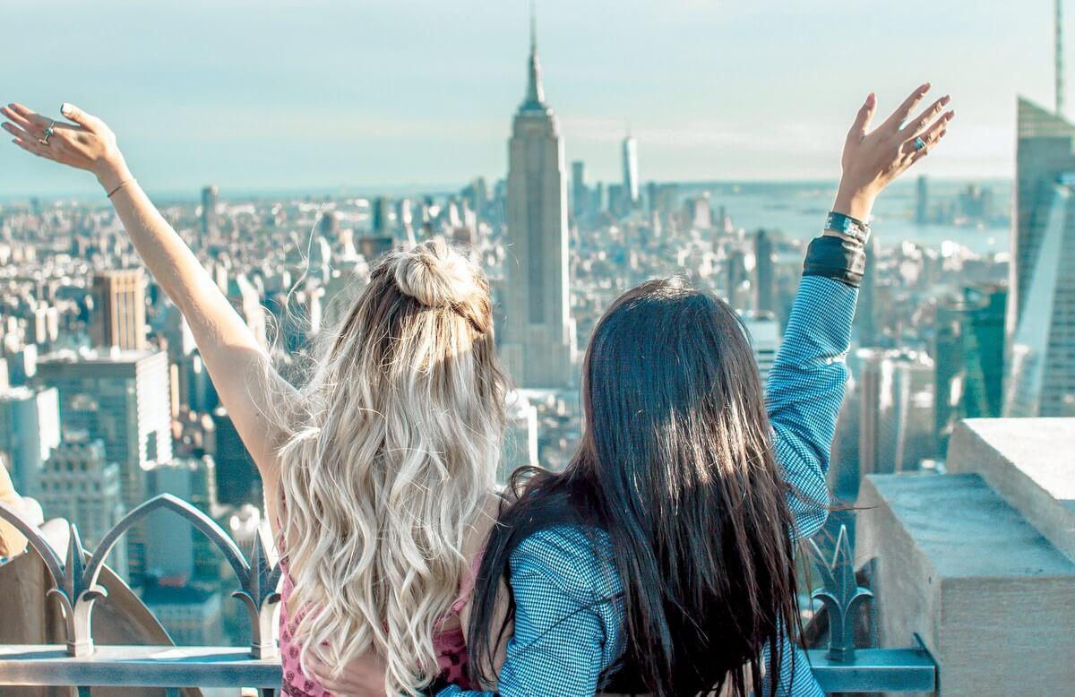 New York City NYC Female friends travelers RF