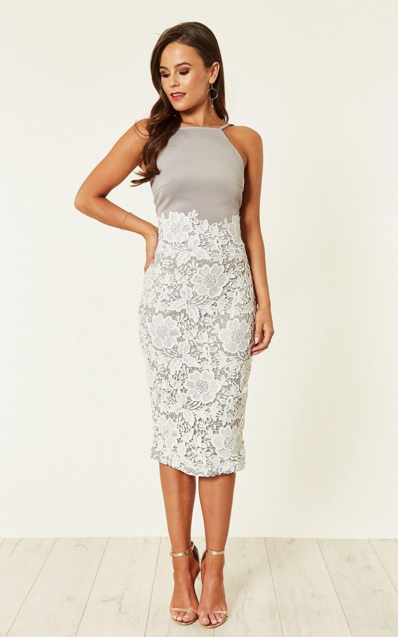 Tammy Lace Midi Dress Grey White