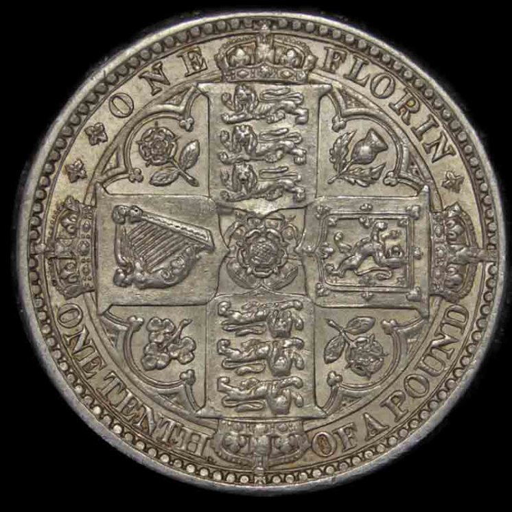 Queen Victoria Godless Florin Reverse 1849 British United Kingdom