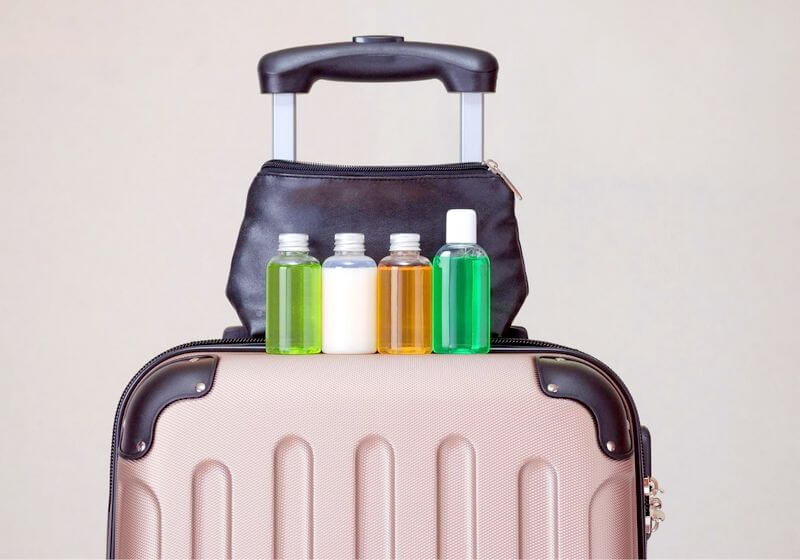 Travel suitcase toiletries liquids RF