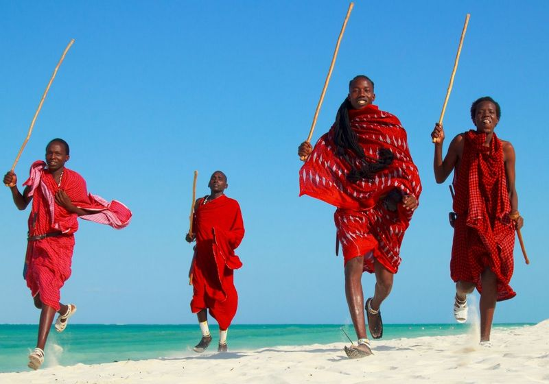 Maasai Warriors beach Zanzibar Africa RF