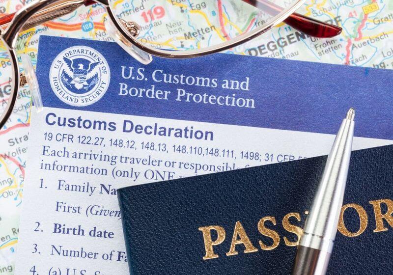 Pen customs form passport RF