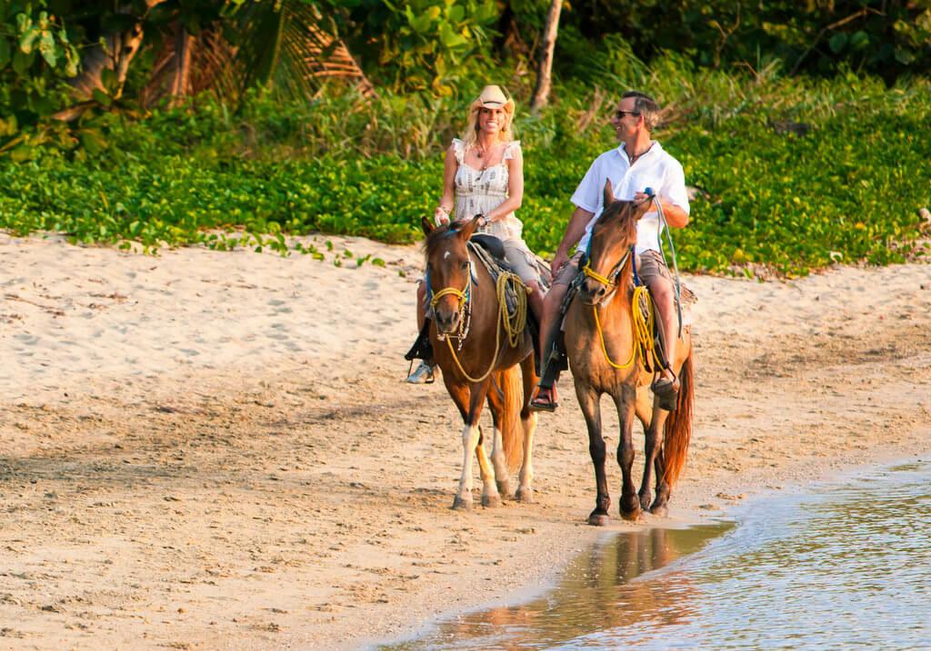 Horse riding couple beach RF