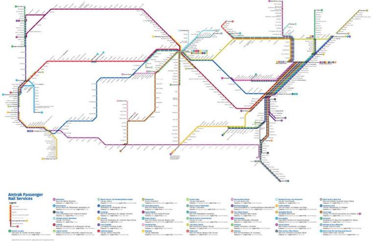 Amtrak Subway Map, 2016