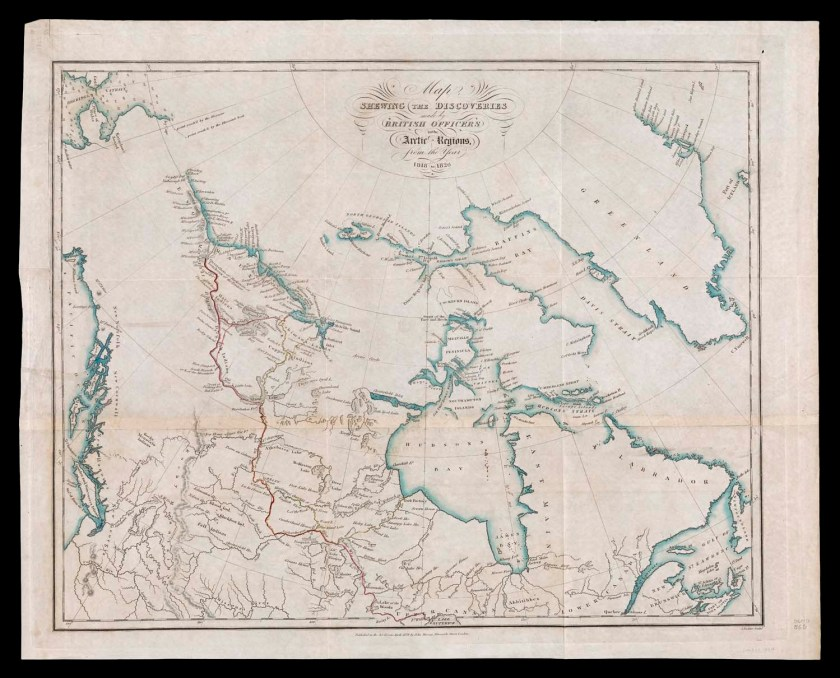 John Murray, Map Shewing the Discoveries Made by British Officers in the Arctic Region, 1828. Map, 41.5 × 52 cm. Osher Collection.