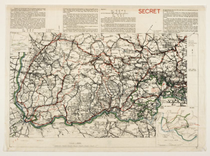 Schaffhausen Airey Neave escape map. The War Office, 1940. British Library.