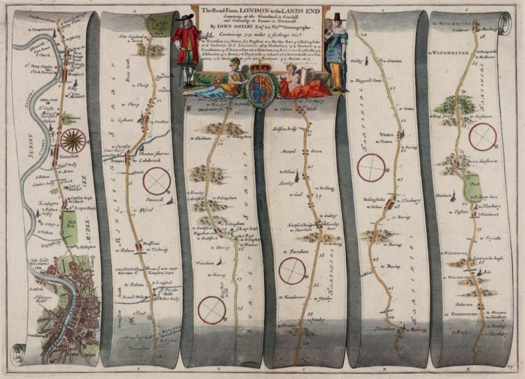 John Ogilby, The Road From London to the Lands End,, 1675.