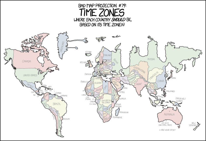 Time Zone Map 2017.Xkcd S Time Zone Map The Map Room