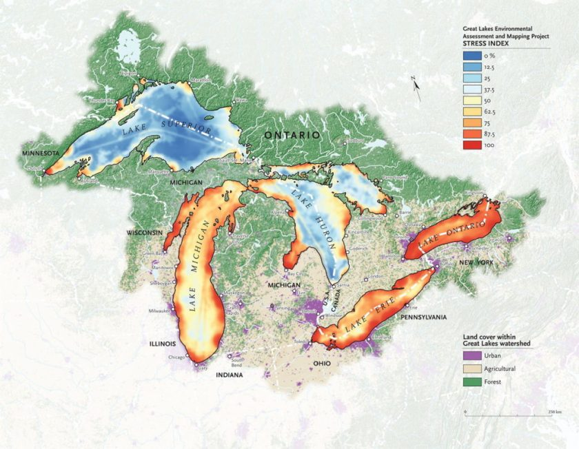 Map Of Canada 5 Great Lakes.Mapping Great Lakes Pollution The Map Room