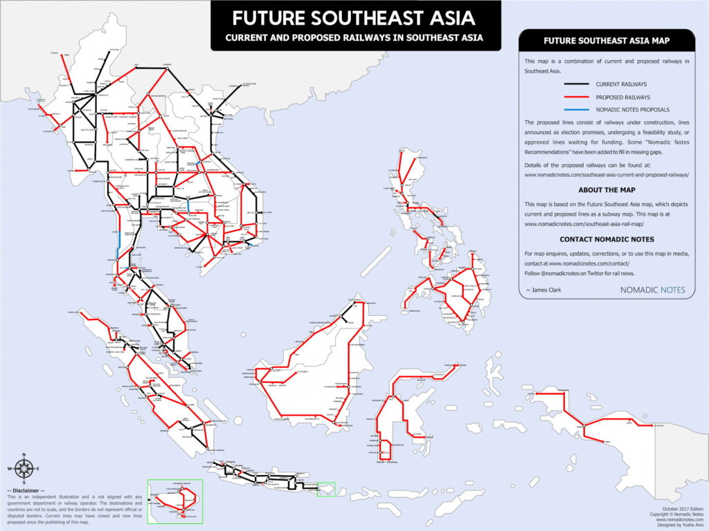 james clarks revised map of current and proposed railways in southeast asia the map room