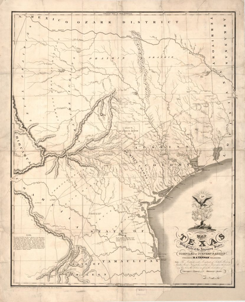 Map Of Texas Am.Texas A M Acquires Copy Of Austin S 1830 Map Of Texas The Map Room