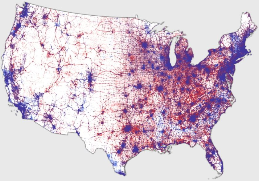 Map Of Us Presidential Election Results.Kenneth Field S Dot Density Election Map Redux The Map Room