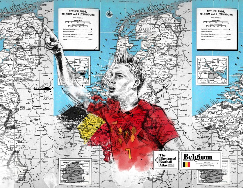 """Kevin de Bruyne--Belgium,"" from Michael Raisch, The Illustrated Football Atlas, 2018."