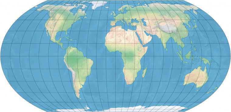 Equal Earth projection in colour