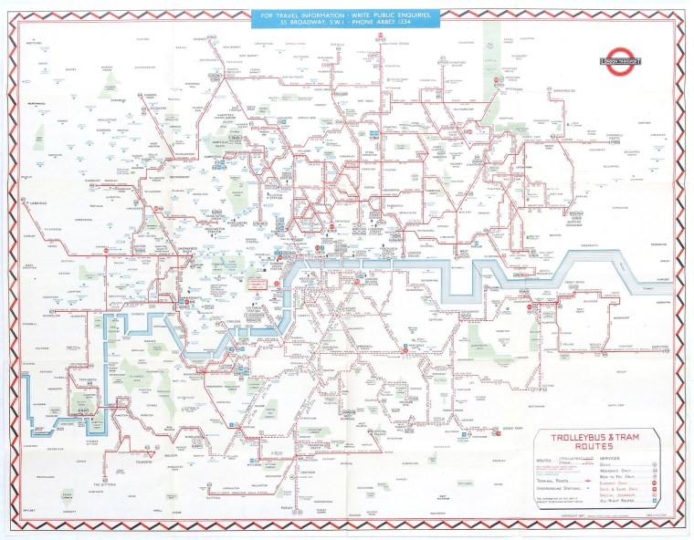Trolleybus & Tram Routes (1947)
